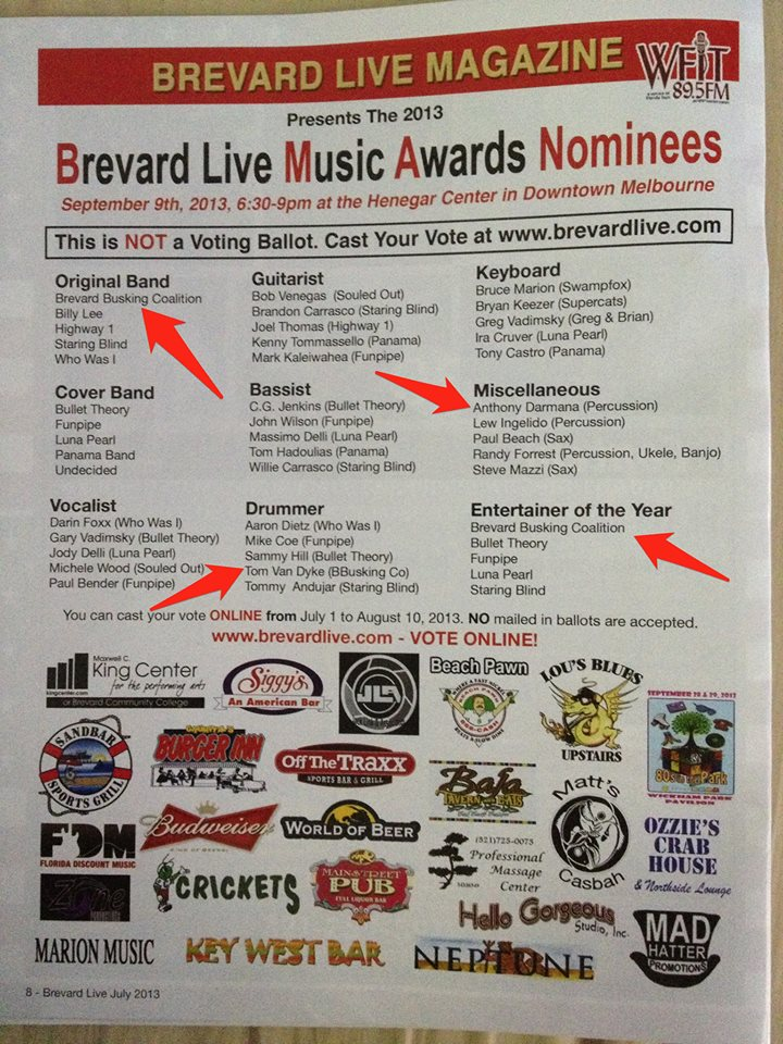 Brevard Live Music Awards Nominees
